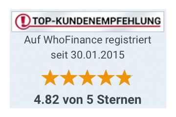 Top Kundenempfehlung bei WhoFinance
